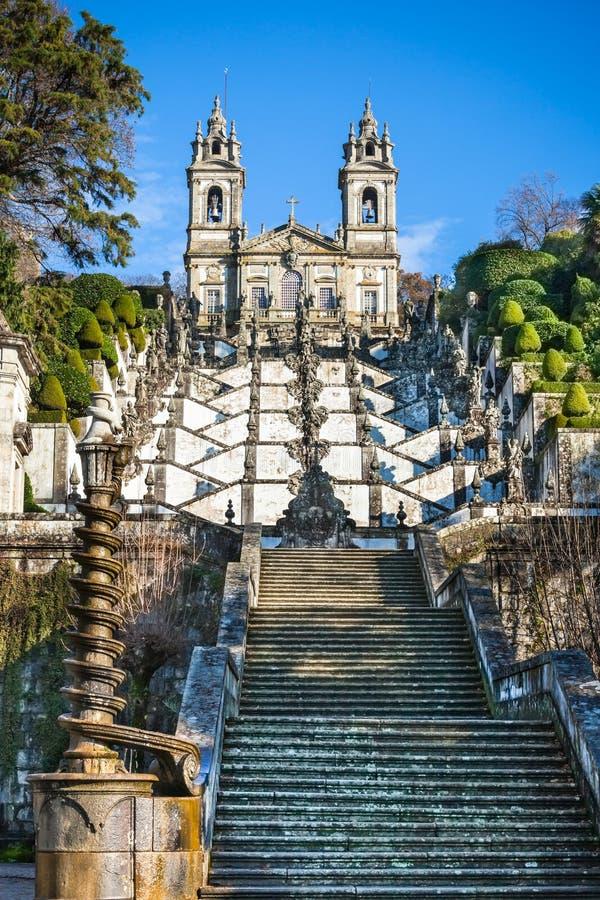 Bom Jesus do Monte Monastery, Braga, Portugal. Bright Blue Sky stock photos