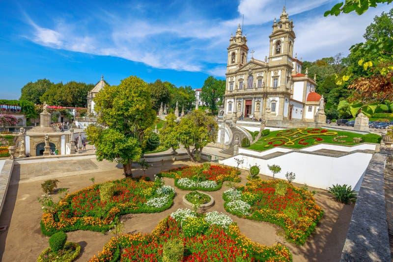 Braga Sanctuary Portugal. Bom Jesus do Monte Sanctuary and her public garden. Tenoes, Braga. The historic church is a popular landmark and pilgrimage site in stock photo