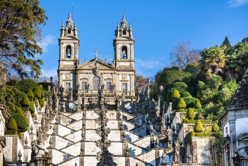 Bom Jesus gör den Monte kloster, Braga, Portugal royaltyfria foton