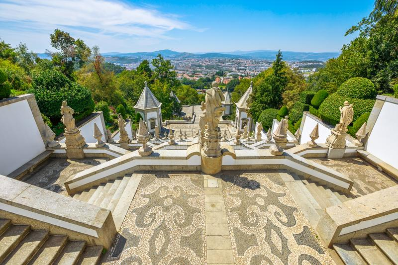Bom Jesus staircase Braga. The monumental baroque staircase of Bom Jesus do Monte Sanctuary, a popular pilgrimage destination with panoramic views overlooking stock photography