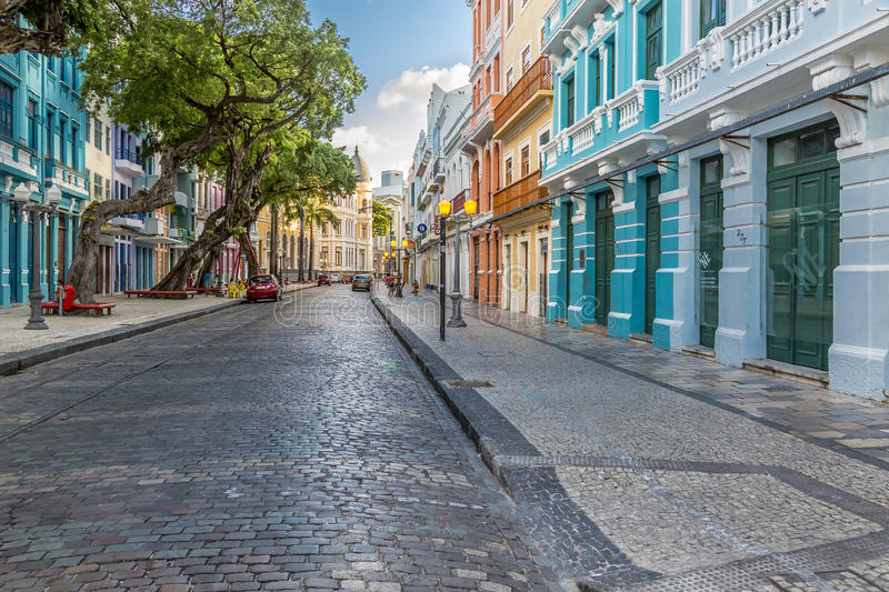 Bom Jesus Street. Panoramic view of the historic Bom Jesus Street in Pernambuco, Brazil with its historic building and cobble stones dated from the seventieth royalty free stock images