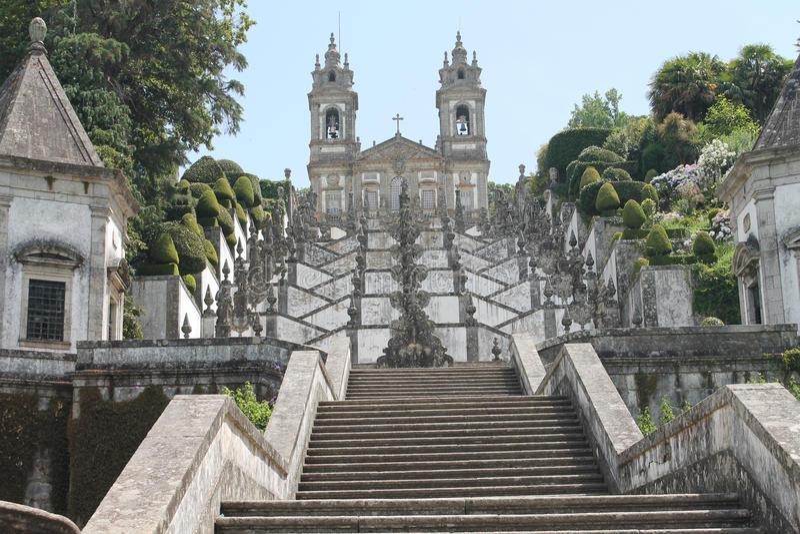 Bom Jezus robi Monte sanktuarium, Braga, Portugalia obraz royalty free