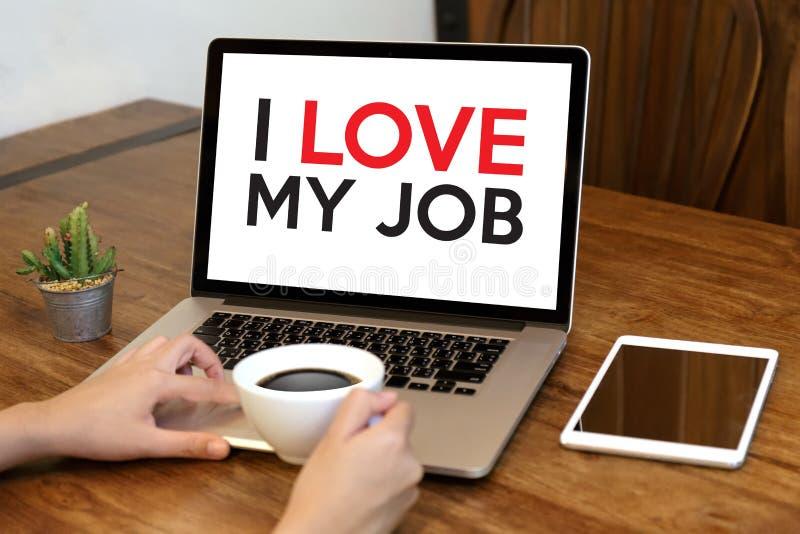 Bom Job Assistant EU AMO MEUS JOB Businessman e mulher de negócios foto de stock royalty free