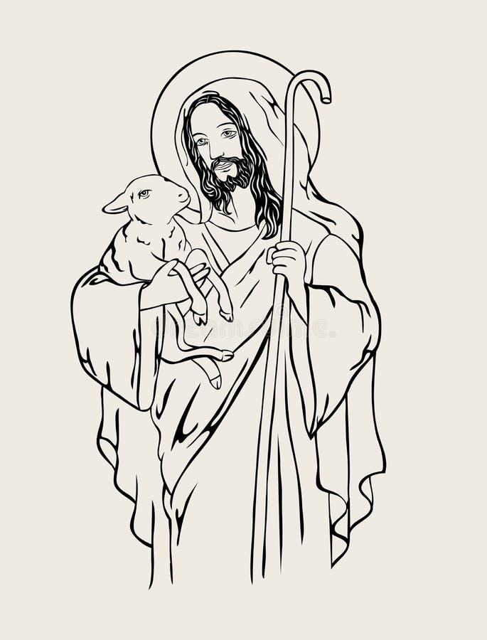 Bom pastor com carneiros ilustração do vetor