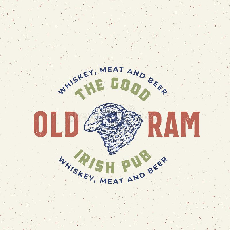 Bom sinal, símbolo ou Logo Template idoso de Ram Irish Pub Abstract Vetora Ram Head Sketch Sillhouette tirado mão com ilustração royalty free