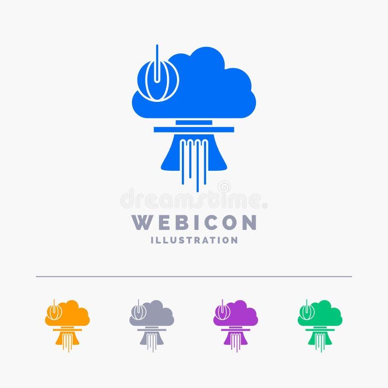 Bom, speciale explosie, kern, oorlog 5 het Malplaatje van het het Webpictogram van Kleurenglyph op wit wordt geïsoleerd dat Vecto vector illustratie