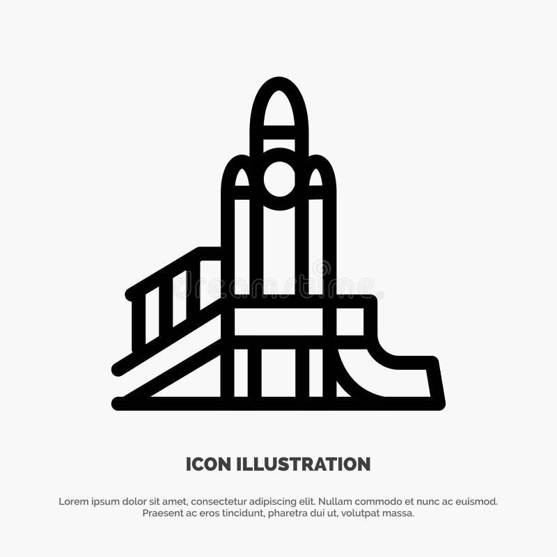 Bom, Spelen, Kern, Speelplaats, de Politieke Vector van het Lijnpictogram royalty-vrije illustratie