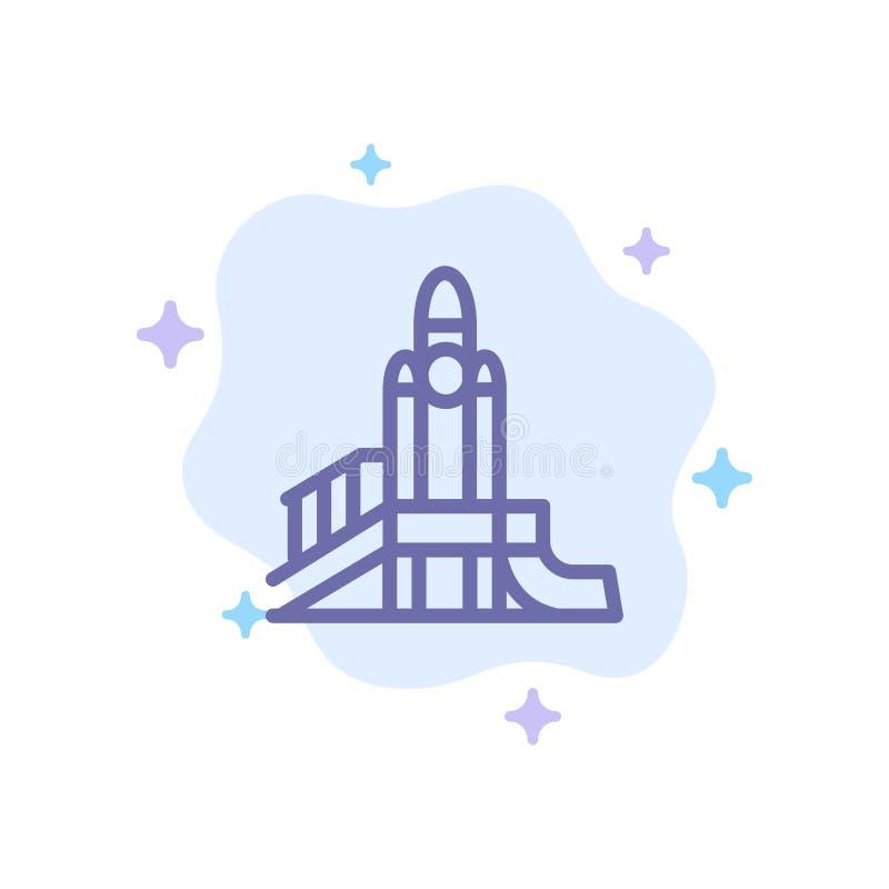 Bom, Spelen, Kern, Speelplaats, Politiek Blauw Pictogram op Abstracte Wolkenachtergrond stock illustratie