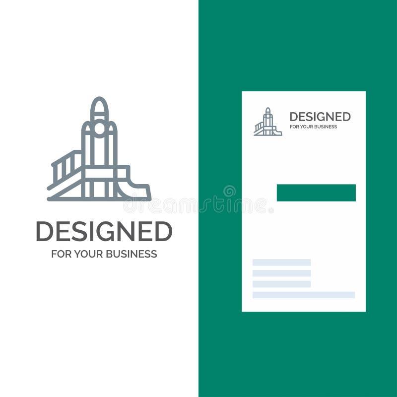 Bom, Spelen, Kern, Speelplaats, Politiek Grey Logo Design en Visitekaartjemalplaatje royalty-vrije illustratie