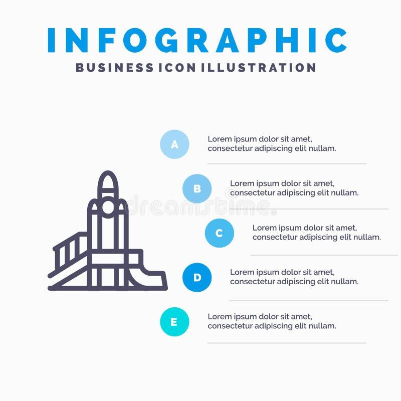 Bom, Spelen, Kern, Speelplaats, Politiek Lijnpictogram met infographicsachtergrond van de 5 stappenpresentatie royalty-vrije illustratie