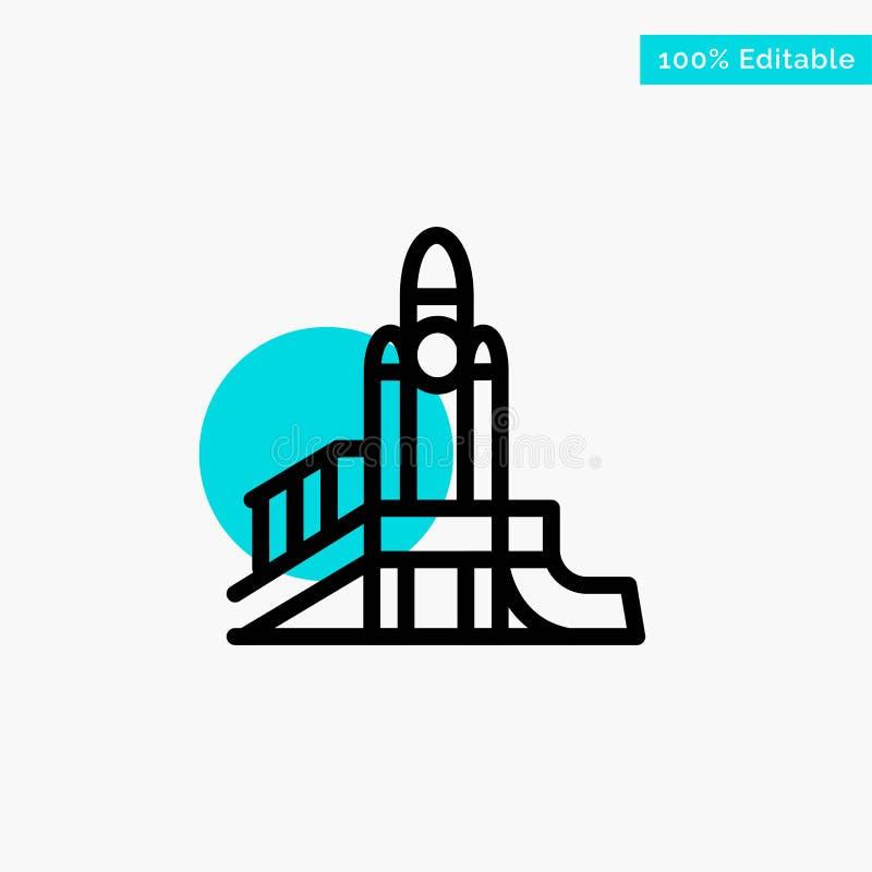 Bom, Spelen, Kern, Speelplaats, Politiek turkoois het punt Vectorpictogram van de hoogtepuntcirkel stock illustratie