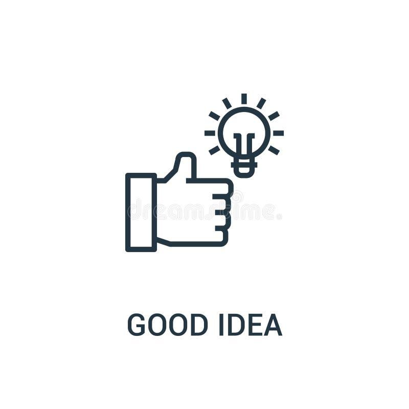 bom vetor do ícone da ideia da coleção do seo Linha fina boa ilustração do vetor do ícone do esboço da ideia Símbolo linear para  ilustração stock
