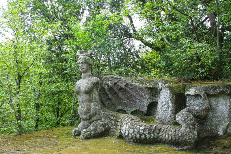 Garden of Bomarzo. At Bomarzo - Italy - On semptember 2009 - Sacred Grove , known also as Park of the Monsters, populated by grotesque sculptures in manieristic stock images