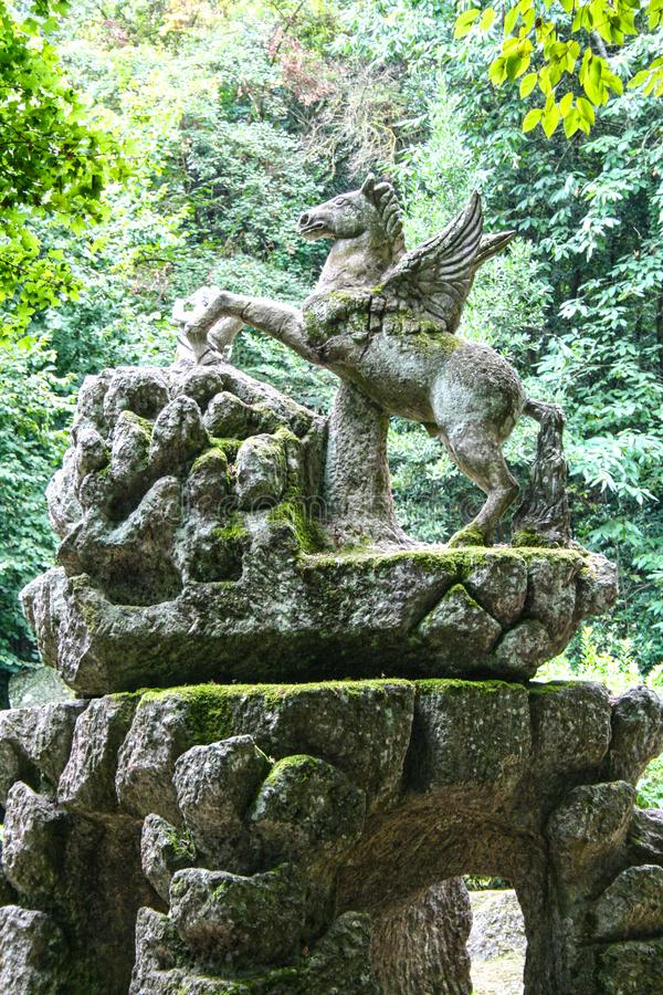 Garden of Bomarzo. At Bomarzo - Italy - On semptember 2009 - Sacred Grove , known also as Park of the Monsters, populated by grotesque sculptures in manieristic stock photos