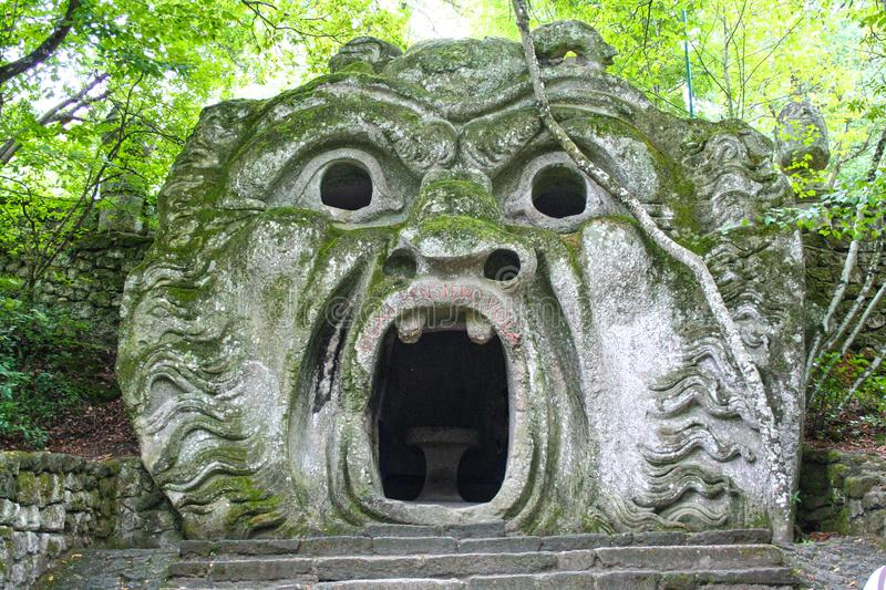 Garden of Bomarzo. At Bomarzo - Italy - On semptember 2009 - Sacred Grove , known also as Park of the Monsters, populated by grotesque sculptures in manieristic stock photography