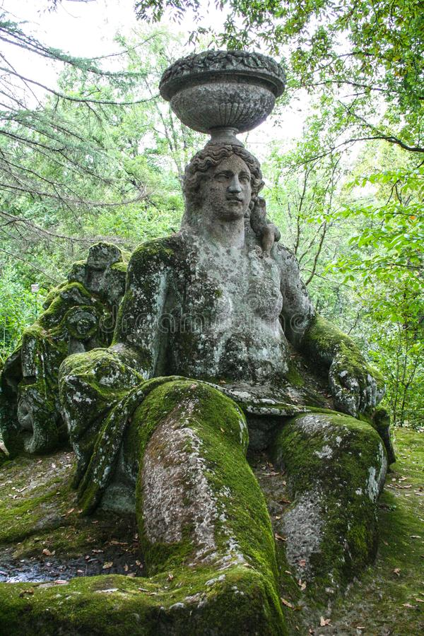 Garden of Bomarzo. At Bomarzo - Italy - On semptember 2009 - Sacred Grove , known also as Park of the Monsters, populated by grotesque sculptures in manieristic royalty free stock photos