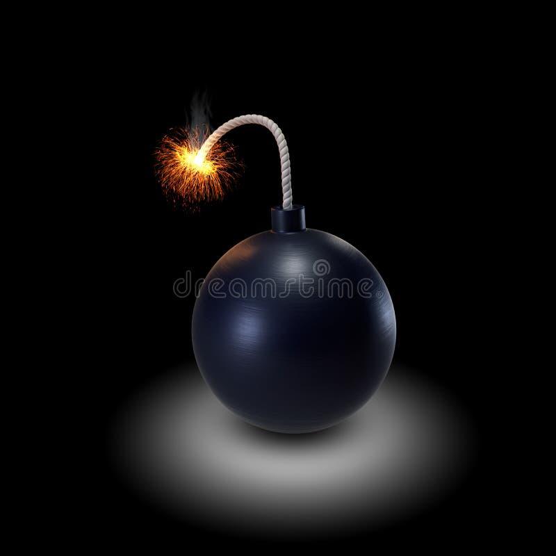 Bomb. Burning bomb on black background royalty free illustration