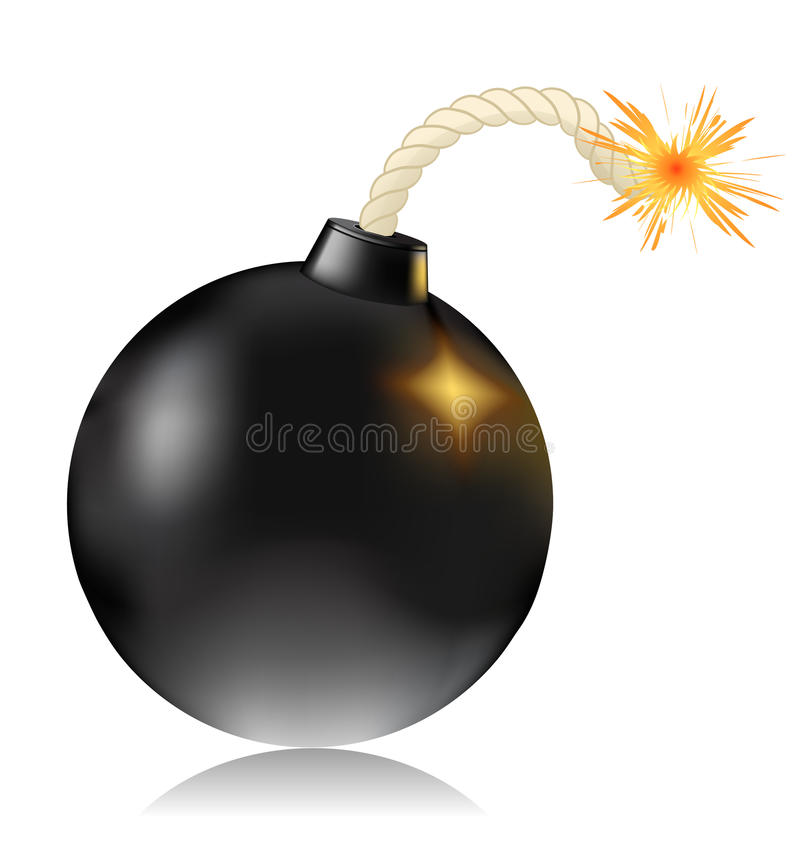 Bomb. With shadow on white vector illustration