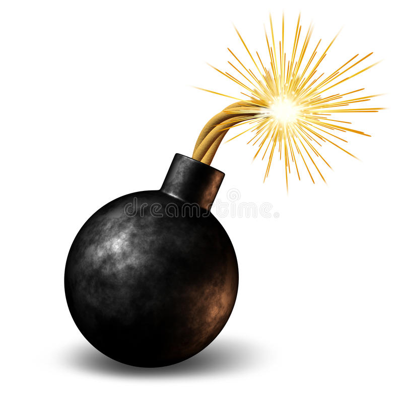 Bomb. With lit burning fuse with fire sparks feeling the heat as a dangerous warning of an urgent deadline with an impending explosion warning on a white royalty free illustration