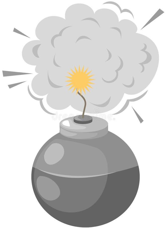 Bomb. Illustration of isolated bomb with burning fuse on white stock illustration