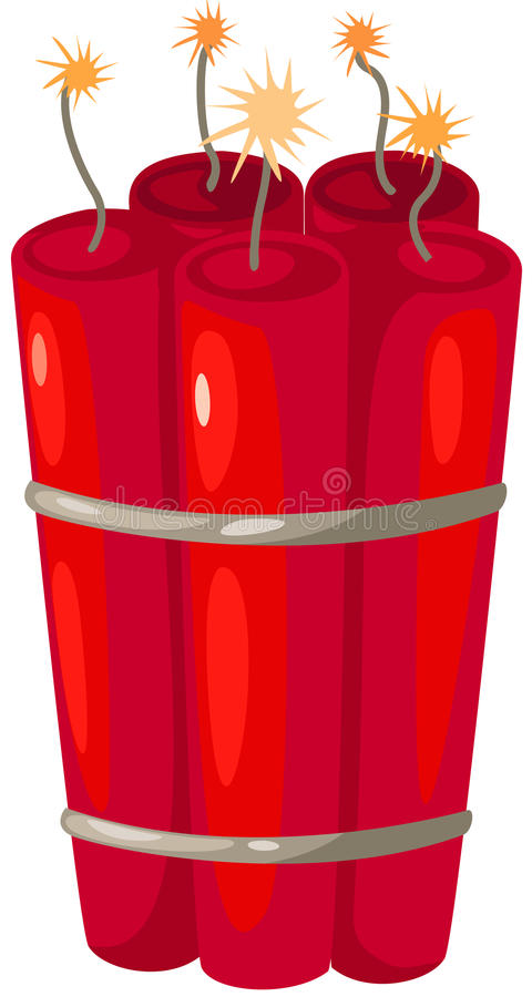 Bomb. Illustration of isolated bomb with burning fuse on white vector illustration