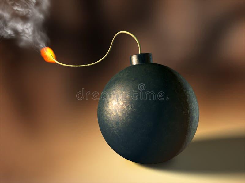Bomb. About to explode. Digital illustration stock illustration