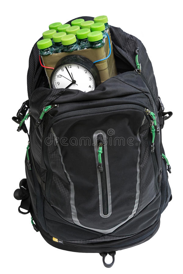 Bomb in the backpack. Timed bomb in backpack on white background isolated royalty free stock photography