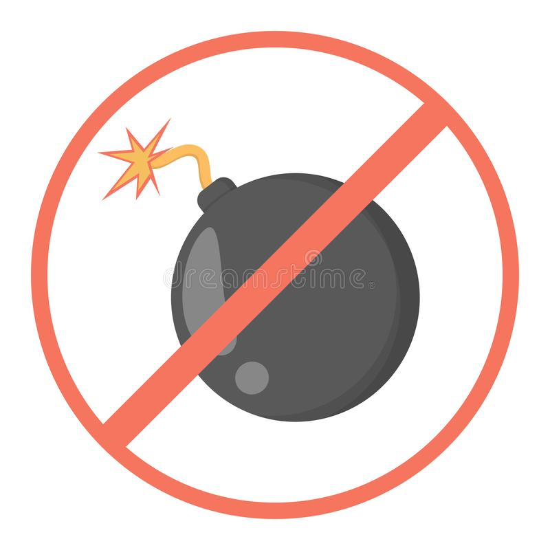 Bomb behind the red forbidden sign. Prohibition. Bomb behind red forbidden sign. Prohibition symbol. Danger and warning. Isolated flat vector illustration vector illustration