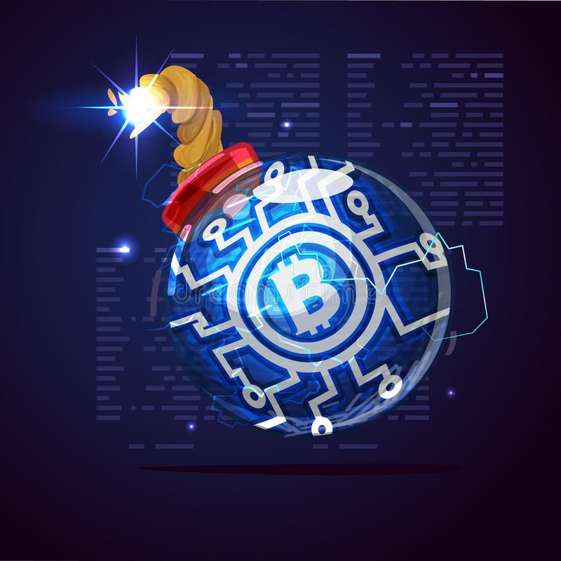 Bomb of bitcoin. Bitcoin currency crisis - vector. Illustration vector illustration