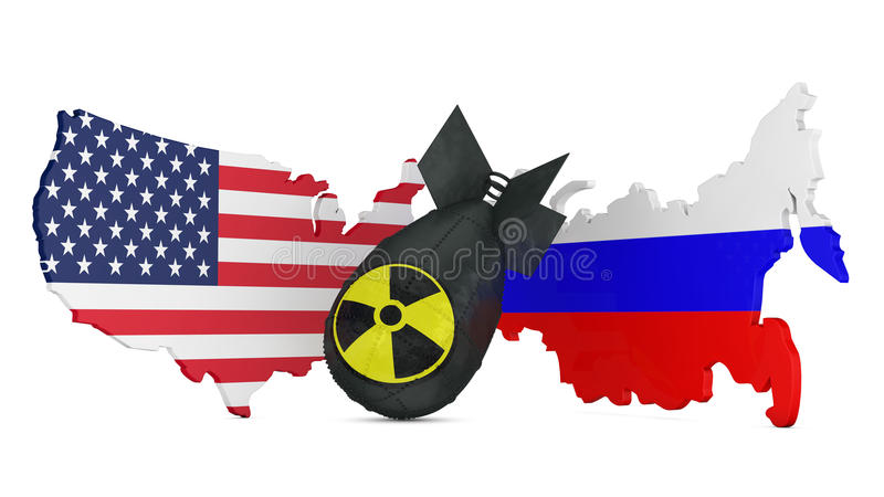 Bomb. Black bomb with the radiation sign on a background map with flags of the United States and Russia vector illustration