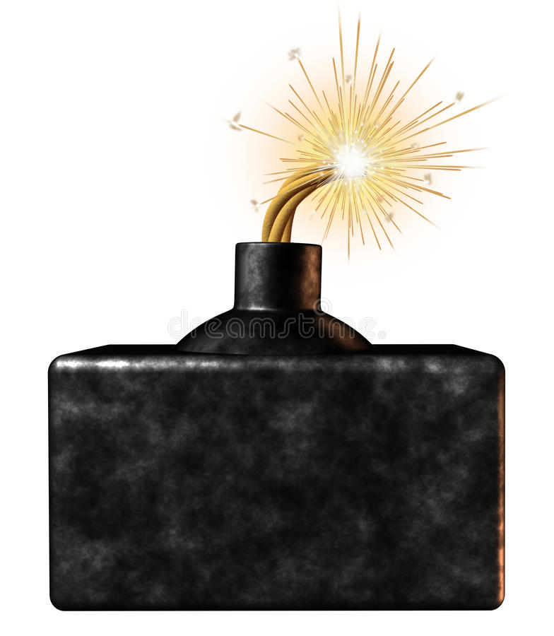 Bomb Blank Sign. Explosive blank bomb sign with an ignited burning dangerous weapon device on the verge of exploding as an urgent limited time announcement stock illustration