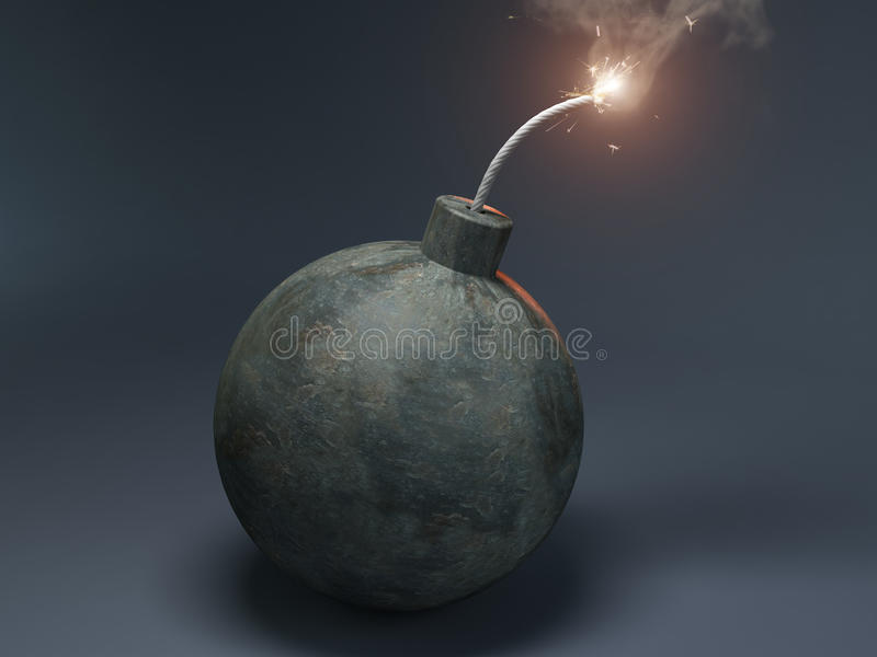 Bomb with a burning wick vector illustration