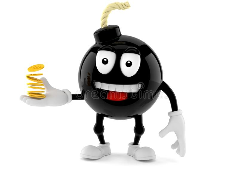 Bomb character with coins royalty free illustration