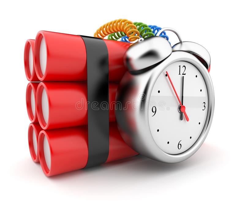 Bomb with clock timer 3D. Countdown. Icon royalty free illustration