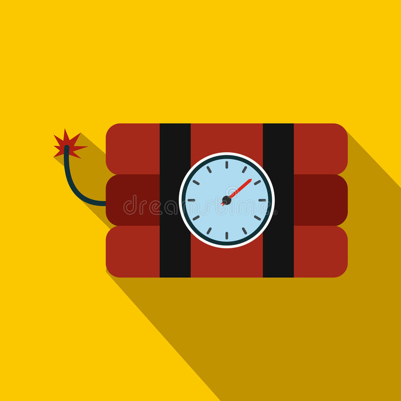Bomb with clock timer flat icon vector illustration
