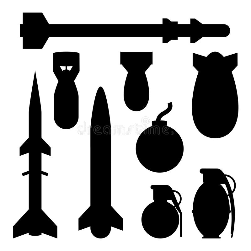 Bomb Collection. A collection bombs in varying shapes and sizes stock illustration