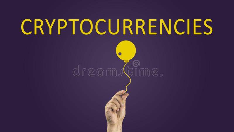 Bomb Cryptocurrency. cryptocurrencies illustrating risks concept. stock photo