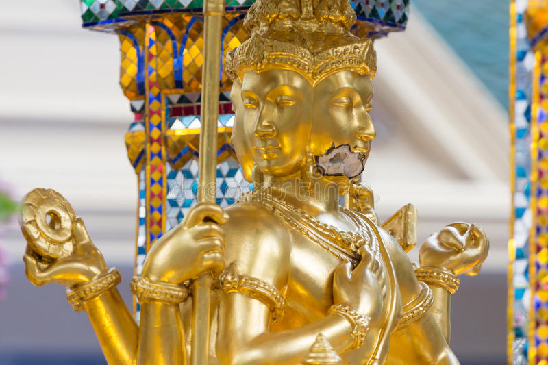 Bomb damage on Thao Maha Phrom, bomb explosion in Ratchaprasong on August 17, 2015 Bangkok, Thailand. Bomb damage on Thao Maha Phrom, the Brahma statue after royalty free stock images