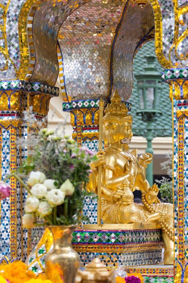 Bomb damage on Thao Maha Phrom, bomb explosion in Ratchaprasong on August 17, 2015 Bangkok, Thailand. Bomb damage on Thao Maha Phrom, the Brahma statue after royalty free stock image