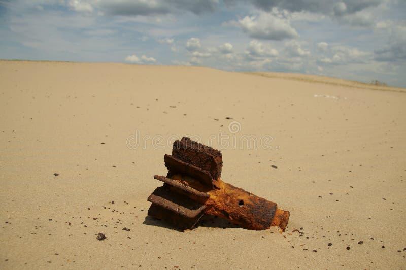 Bomb in desert stock image