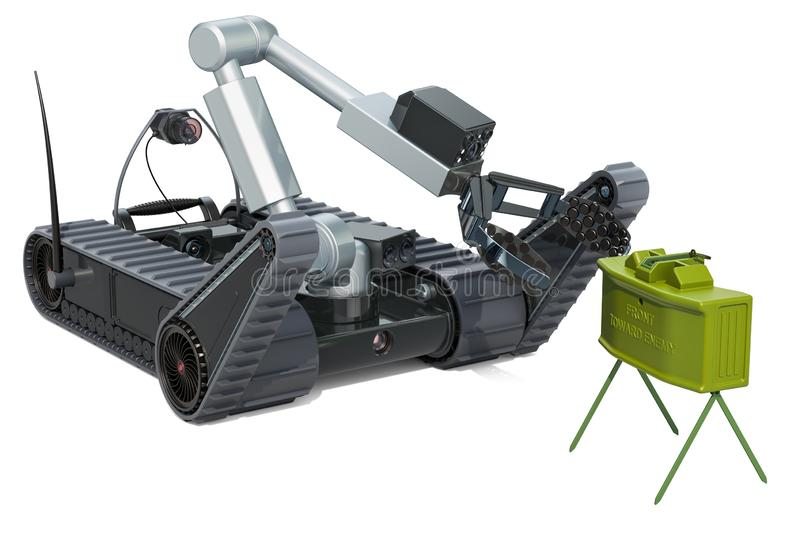 Bomb disposal robot with anti-personnel mine, 3D rendering. Isolated on white background stock illustration