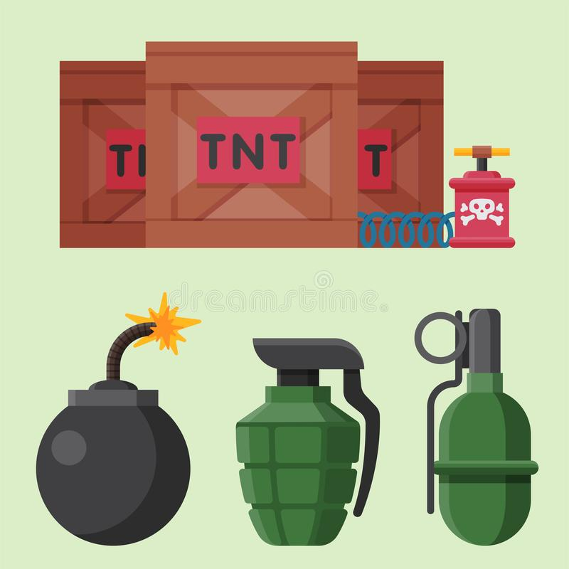 Bomb dynamite fuse vector illustration grenade attack power ball burning detonation explosion vector illustration
