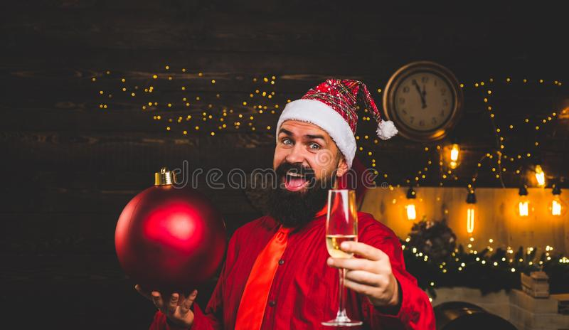 Bomb emotions. Christmas preparation. Happy Santa claus. Sparkle blast. Christmas sale. Funny Santa wishes Merry. Christmas and Happy new year. Christmas royalty free stock photos
