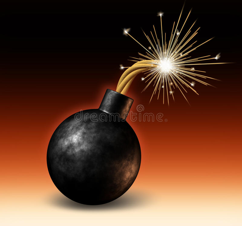 Bomb Exploding. Exploding bomb with lit burning fuse with fire sparks feeling the heat as a dangerous warning of an urgent deadline with an impending explosion stock illustration