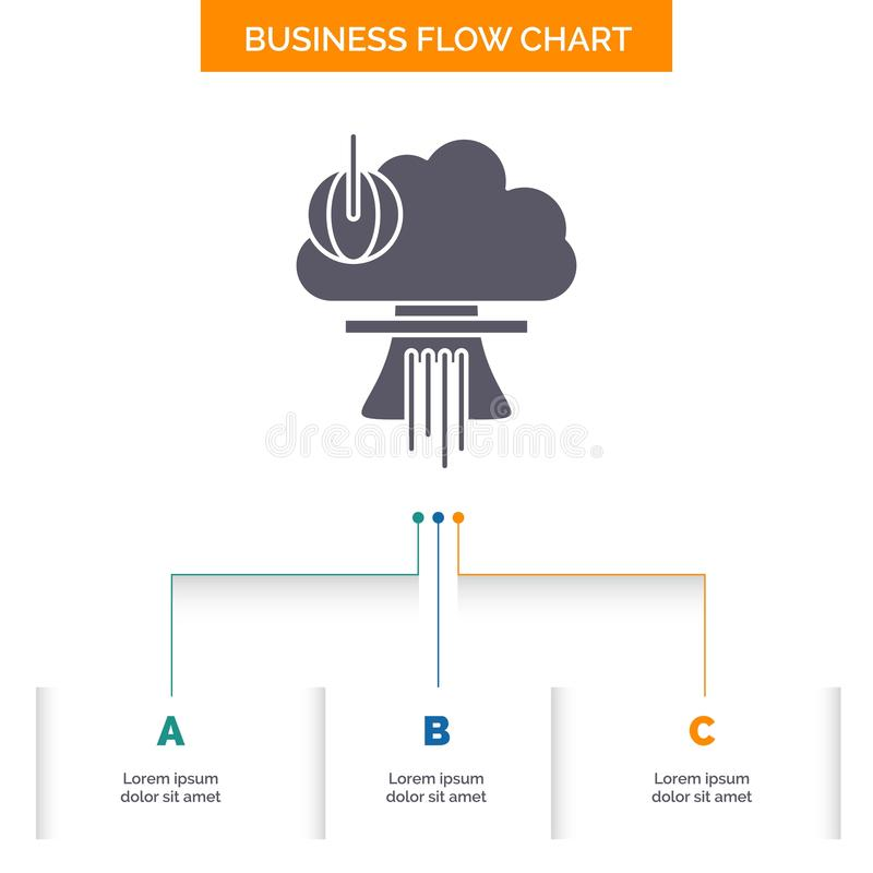 Bomb, explosion, nuclear, special, war Business Flow Chart Design with 3 Steps. Glyph Icon For Presentation Background Template vector illustration
