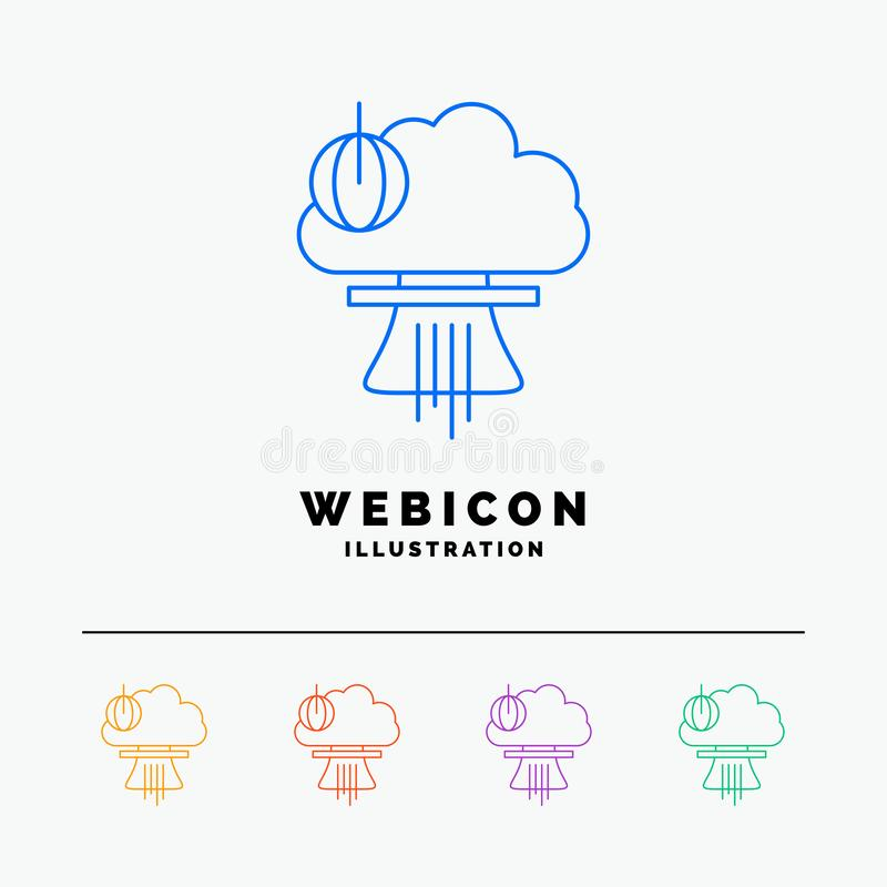 Bomb, explosion, nuclear, special, war 5 Color Line Web Icon Template isolated on white. Vector illustration royalty free illustration
