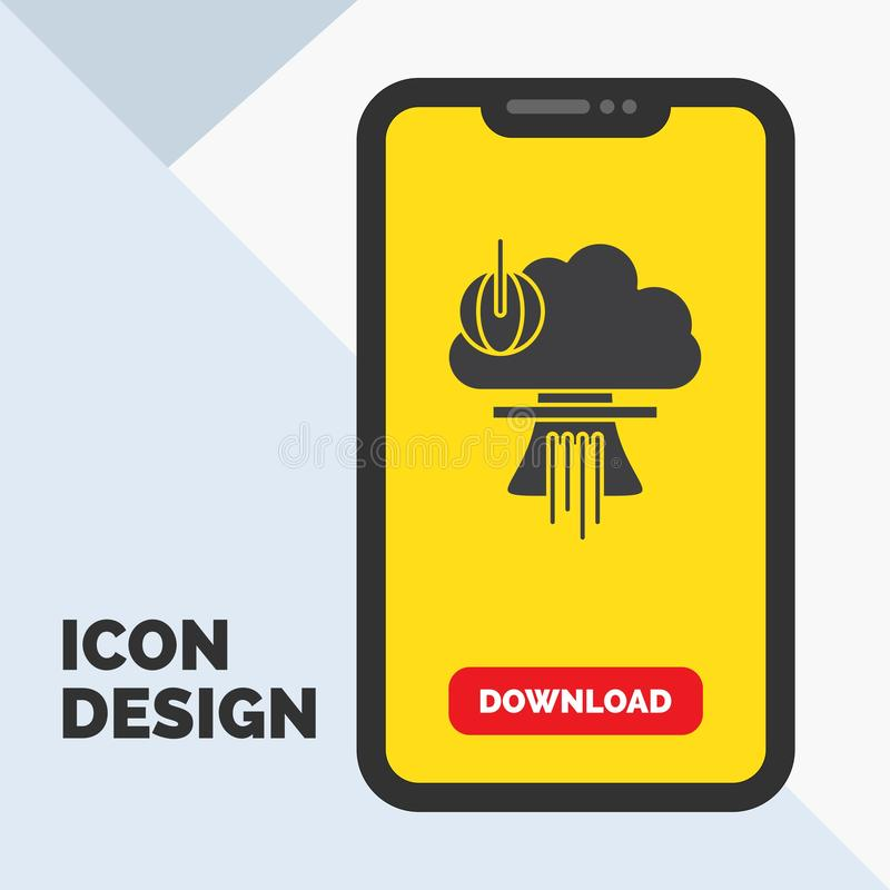 Bomb, explosion, nuclear, special, war Glyph Icon in Mobile for Download Page. Yellow Background stock illustration