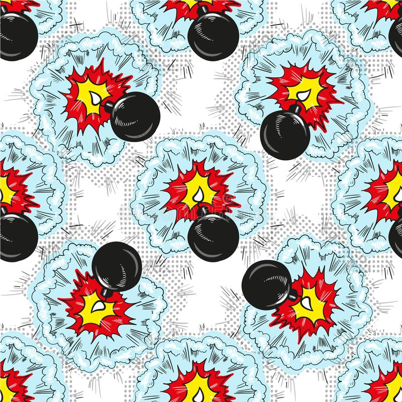 Bomb explosion pop art comic seamless pattern vector illustration