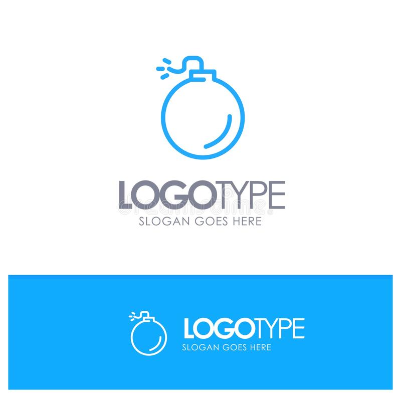 Bomb, Explosive, Explosion Blue Logo Line Style stock illustration
