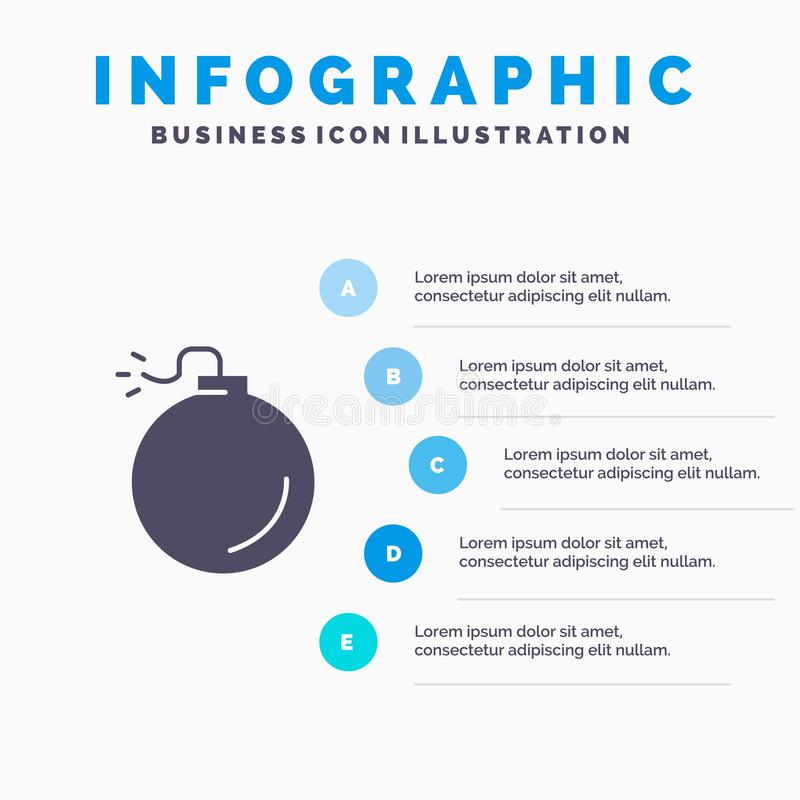 Bomb, Explosive, Explosion Infographics Presentation Template. 5 Steps Presentation stock illustration